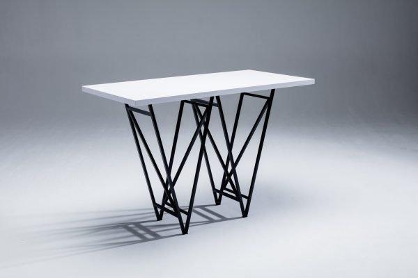Designertisch STEVY - Stehtisch - Weiß, schwarz